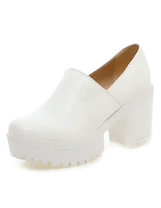 Blanco grueso tacón PU zapatos de tacón altos para mujer
