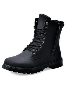 Blck ronda Toe PU cremallera botas para hombres