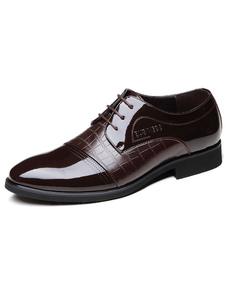Brown señaló Toe cuero zapatos de vestir para hombre