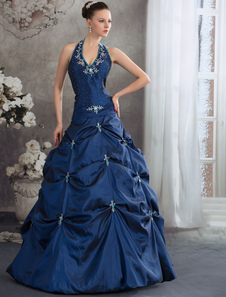 Azul Royal tafetán Halter cuello abalorios Pick_Up encaje apliques Vestido de quinceañera