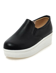 Image For Black Round Toe PU Wedge Shoes For Ladies