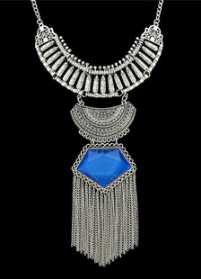 Azul capas declaración de aleación collar para mujer
