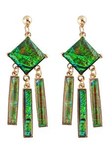 Image of        Verde a strati in lega orecchini per le donne