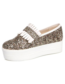 Image For Gold Glitter Casual Flats for Women