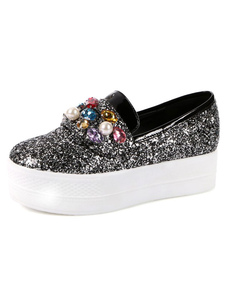 Image For Black Glitter Casual Ladies' Flats
