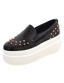 Image For Black Rivets Casual Flats for Women