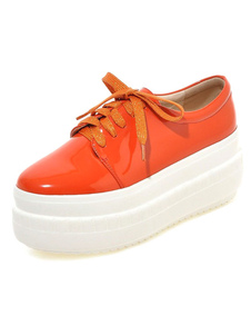 Image For Orange Round Toe PU Casual Flats for Women