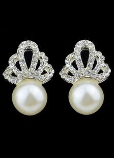Image of Orecchino per le donne bianche con corona di strass