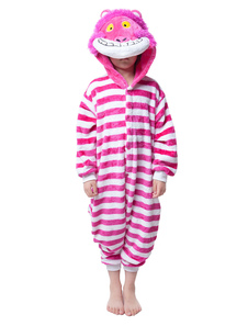 kigurumi-pajama-cheshire-cat-onesie-for-kids-rose-red-synthetic-jumpsuit-christmas-mascot-costume