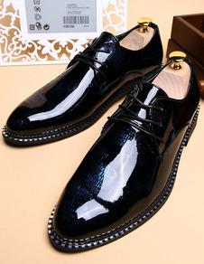 Black señaló Toe ATA para arriba los zapatos de vestir de PU para los hombres