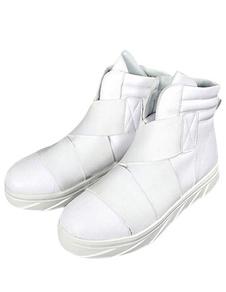 Image of Bianco punte Toe PU tessile stivali per gli uomini