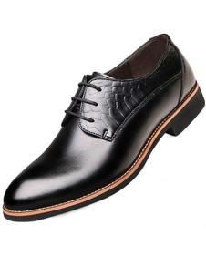 Black señaló Toe ATA para arriba los zapatos de vestir de cuero para hombres