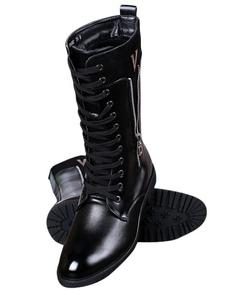 Image of Nero punta Toe Lace Up PU stivali per gli uomini