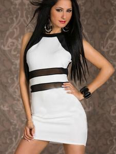 Image of Bianco semi-velato Cut-Back Out Lycra Spandex Dress Club per le donne