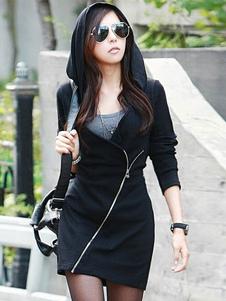 Image of Cerniera nero Mini abito di cotone per le donne