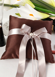 brown-bows-ribbons-beaded-satin-wedding-pillow