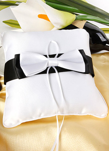 black-white-bows-ribbons-satin-wedding-pillow