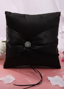 black-bows-ribbons-satin-wedding-pillow