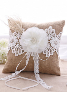 brown-3d-flowers-ribbons-satin-wedding-pillow