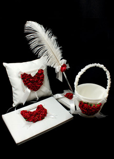 red-white-heart-print-wedding-flowers-collection-set