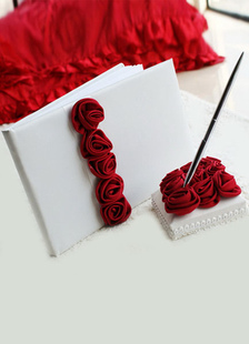 red-3d-flowers-wedding-books-pens