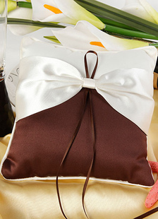 chocolate-bows-ribbons-satin-wedding-pillow