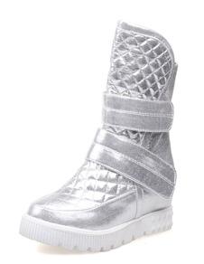 Moda correas plata esmaltado botas de PU para mujeres