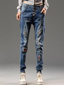 Image of Jeans in cotone stampa Logo Vintage blu per le donne
