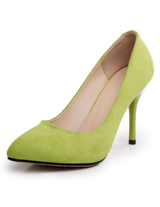 Image of Verde Monogram Suede Peep Toe tacchi per le donne