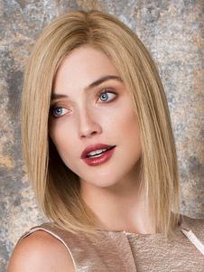 Bobs oro luz fibra Media peluca para las mujeres