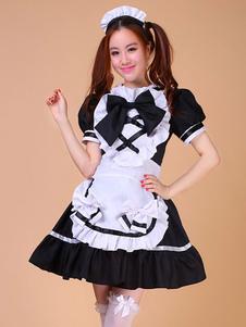 Color Block volants arcs coton tendance Maid Costume pour femmes Halloween