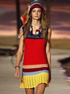 Image of Tessuto misto cotone lavorato a maglia multicolor Bodycon abito per le donne