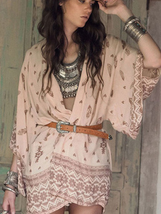 Image of Poliestere stampa multicolor oversize Cover Up per le donne