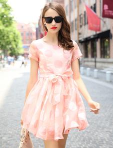 Lumière rose arcs Sash Polka Dot évasée robe pour femmes