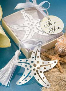 Image of Stella d'argento frangia in acciaio inox segnalibro favori di nozze