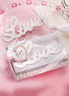 Image of Lettere argento Chic in acciaio inox segnalibro favori di nozze