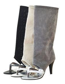 multicolor-net-open-toe-pu-mid-calf-boots-for-women