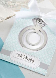 Image of In acciaio inox argento anello forma segnalibro Bomboniere matrimonio