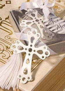 Image of Croce d'argento Chic in acciaio inox segnalibro Bomboniere matrimonio