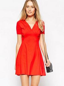 Rouge profond-V Romain tricot robe d'été pour femmes