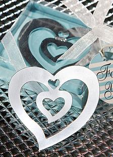 Image of Argento amore & cuore in acciaio inox segnalibro favori di nozze