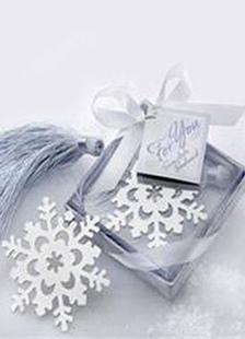 Image of        Neve d'argento nastro in acciaio inox segnalibro Bomboniere matrimonio