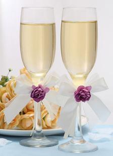 Image of Vetro staminali viola fiore matrimonio Chic tostatura vetro