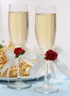 Image of Vetro gambo rosso fiore matrimonio Chic tostatura vetro