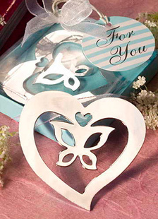 Image of Arco d'argento cuore in acciaio inox segnalibro Bomboniere matrimonio