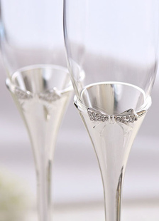 Copas de champaña con lazo de diamante de imitación