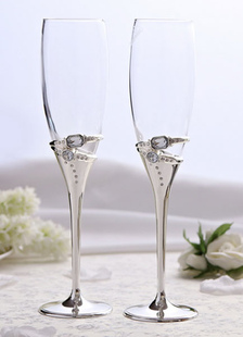 Copas de champaña con diamante de imitación