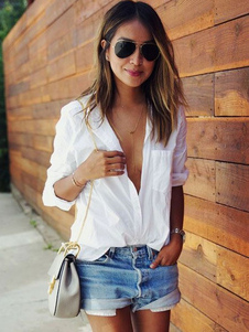 Blanca blusa con escote Ilusión y manga larga 2018