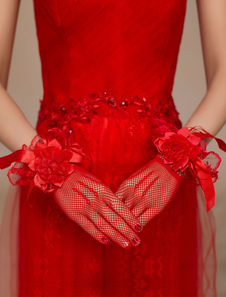 red-tulle-flowers-ribbon-wedding-bridal-gloves