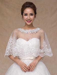 Image of Pizzo avorio Chic puro alla moda sposa scialle da sposa